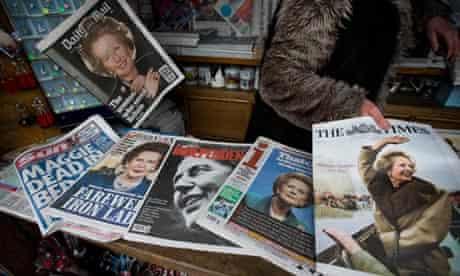 Margaret Thatcher death newsapapers