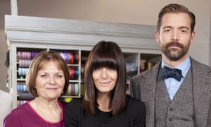 The Great British Sewing Bee … Claudia Winkleman, May Martin and Patrick Grant.