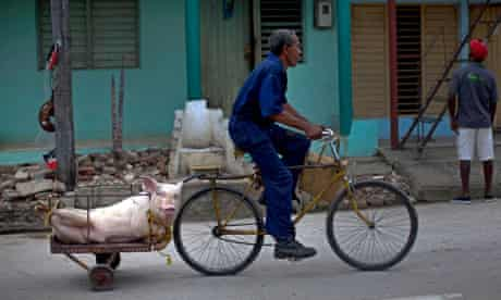 Cuban man on bike