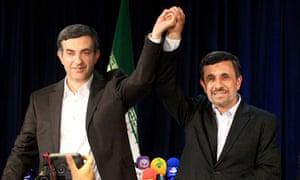 Mahmoud Ahmadinejad and Esfandiar Rahim-Mashaei
