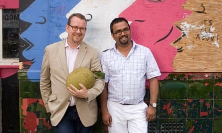 Philip Hensher with his husband Zaved Mahmood in east London