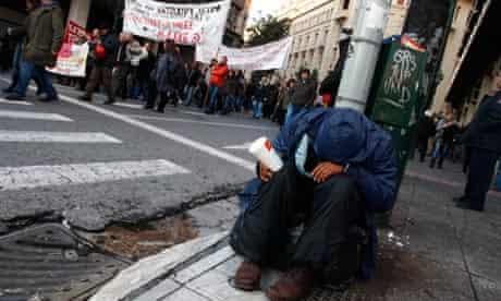 Man begging in Athens
