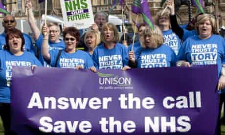 Unison protest against the NHS changes