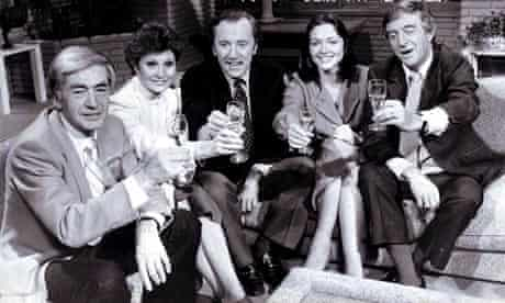 Robert Kee, Angela Rippon, David Frost, Anna Ford and Michael Parkinson at the launch of TV-am.