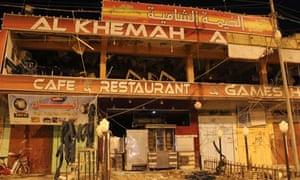 Coffee shop damaged by Fallujah bomb blast