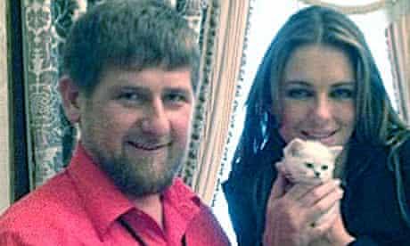 Ramzan Kadyrov and Liz Hurley in Cechnya.