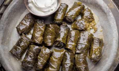 Yotam Ottolenghi's stuffed vine leaves with liver and apple