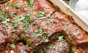 Yotam Ottolenghi's lamb-stuffed aubergine with date syrup and tomato