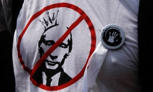 An anti-Putin symbol is seen on an activist's t-shirt during an anti-government protest in Moscow