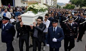 The funeral of Fabiana Luzzi, a teenage girl allegedly killed by her boyfriend.