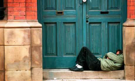 homeless person doorway