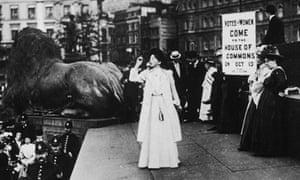 Christabel Pankhurst at Trafalgar Square, 1908.