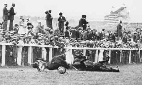 Emily Davison is fatally injured as she tries to stop the King's horse on Derby Day'