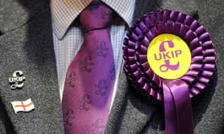 Close up of Ukip candidate's rosette