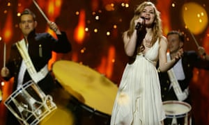 Emmelie de Forest of Denmark rehearses for the final of the Eurovision song contest