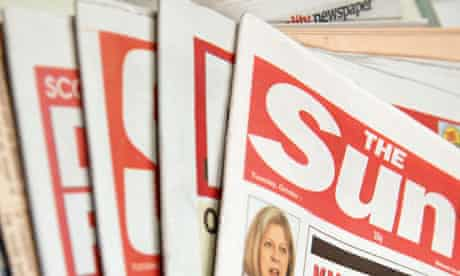 English national newspapers with The Sun newspaper