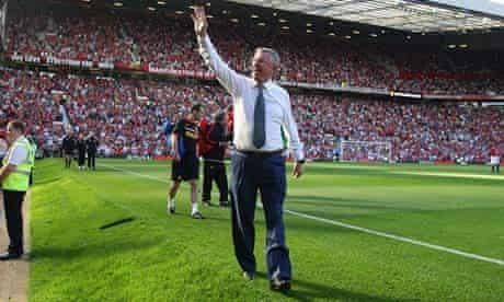 Alex Ferguson on the Old Trafford pitch