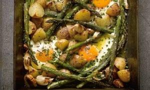 Hugh Fearnley-Whittinstall's roast new potatoes and asparagus
