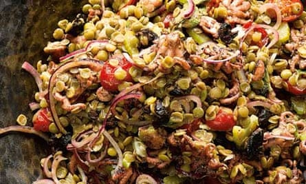 Yotam Ottolenghi's grilled baby octopus with lentils and oregano