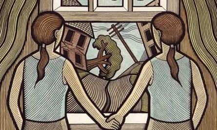 Illustration of twins looking out of a window at a chaotic landscape