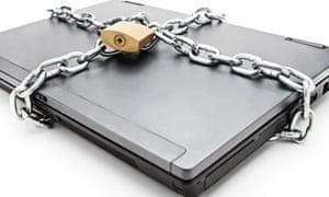 Heavy chain around a laptop