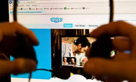 Man chats to family using Skype