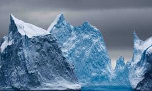 Icebergs in the Antarctic.