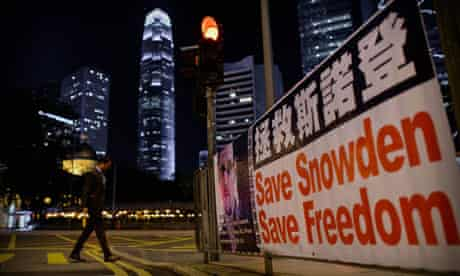 A banner in Hong Kong supporting NSA operative Edward Snowden.