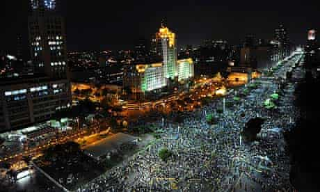 People march in downtown Rio de Janeiro