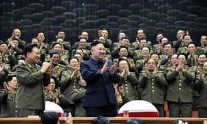 Kim Jong-Un with cadets in Pyongyang