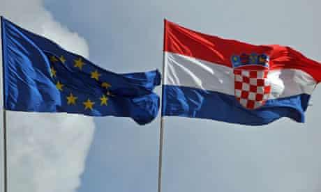 Croatian and European Union flags