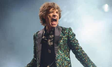 Mick Jagger of the Rolling Stones at Glastonbury 2013