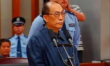 TV grab of Liu Zhijun at his trial for charges of corruption and abuse of power.