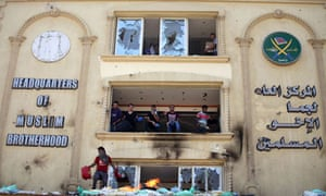 Protesters ransack the Muslim Brotherhood headquarters in Cairo.