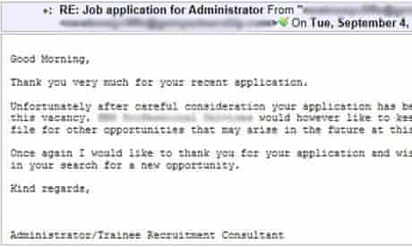 job rejection email