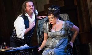 Scott Hendricks (Baron Scarpia) and Martina Serafin (Floria Tosca) in Tosca at the Royal Opera House