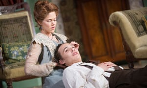 Charity Wakefield (Candida) cradles Frank Dillane's (Eugene Marchbanks) head in Candida