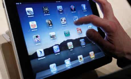 Man uses iPad