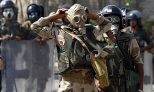 Cairo massacre soldiers gas masks