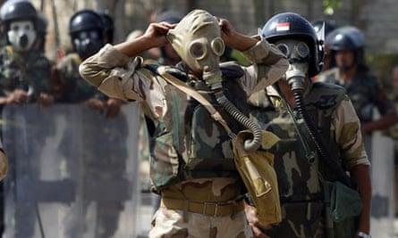 Cairo massacre soldiers gas masks