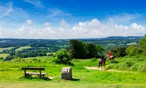 Horse riders on the North Downs Way in Surrey