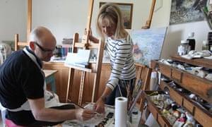 Susie Ray and Stuart Jeffries in her studio