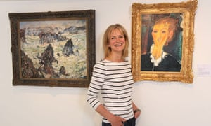Susie Ray with her copies of Monet's Storm on Belle-Ile and Modigliani's Jeune Femme à la Collerette
