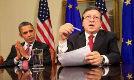 Barack Obama and Jose Manuel Barroso