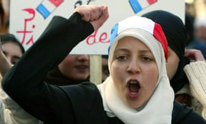 Woman protests in Lille