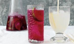 Beetroot and lime water, and elderflower lemonade