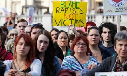 Protestors at an anti-rape march in London … Patricia   Lockwood's poem has struck a nerve worldwide