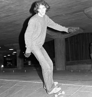 John Crace riding a ramp at the Southbank Centre