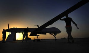 An US Air Force drone is prepared for a mission - MQ-9 Reaper unmanned aerial vehicle for a mission