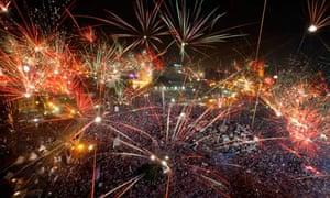Fireworks over Tahrir Square